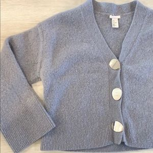 H&M Cropped Cardigan Gold Buttons Gray Size S